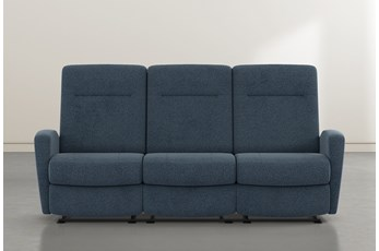 "Zachery II Denim Power Reclining Space Saver 86"" Sofa"