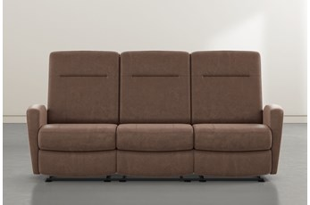 "Zachery II Brown Power Reclining Space Saver 86"" Sofa"