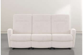 "Zachery II Ivory Power Reclining Space Saver 86"" Sofa"