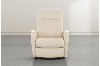 Zachery II Cream Leather Power Swivel Glider Recliner