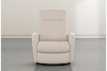 Zachery II Beige Leather Power Swivel Glider Recliner