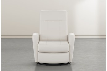 Zachery II White Leather Power Swivel Glider Recliner