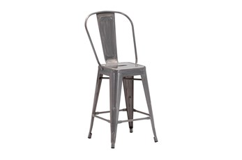 Turin Gunmetal 24 Inch Bar Stool Set Of 2