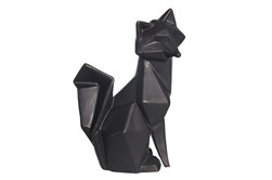 Ceramic 10 Inch Black Modern Fox Figurine