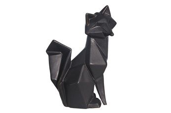 Ceramic 10 Inch Black Modern Fox Figurine