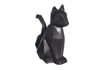 Ceramic 10 Inch Black Modern Cat Figurine