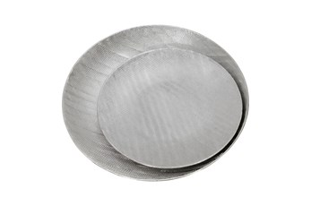 Silver Ceramic Platesscratch Finish Set Of 2