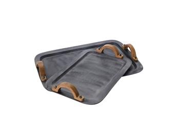 Gray Aluminum Wood Trays Set Of 2