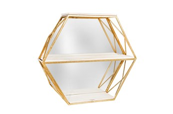 3 Tier Mirror Hexagon Wall Shelf