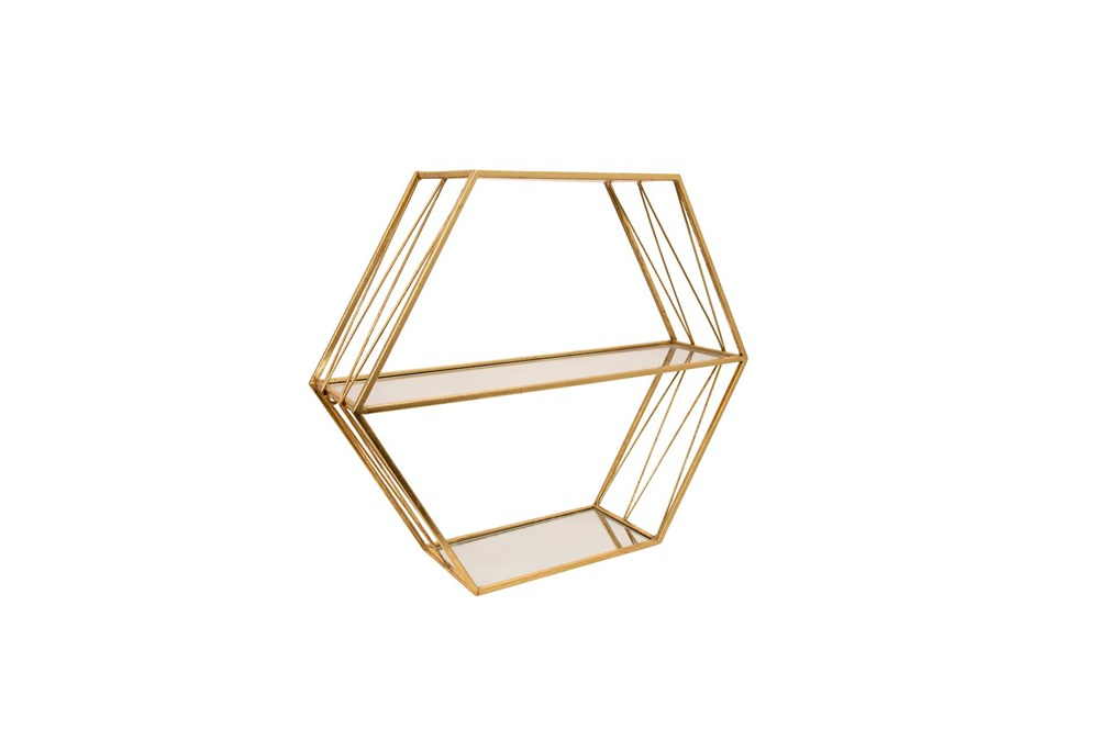 Wall Decor 20 Inch Hexagon Mirror Shelves