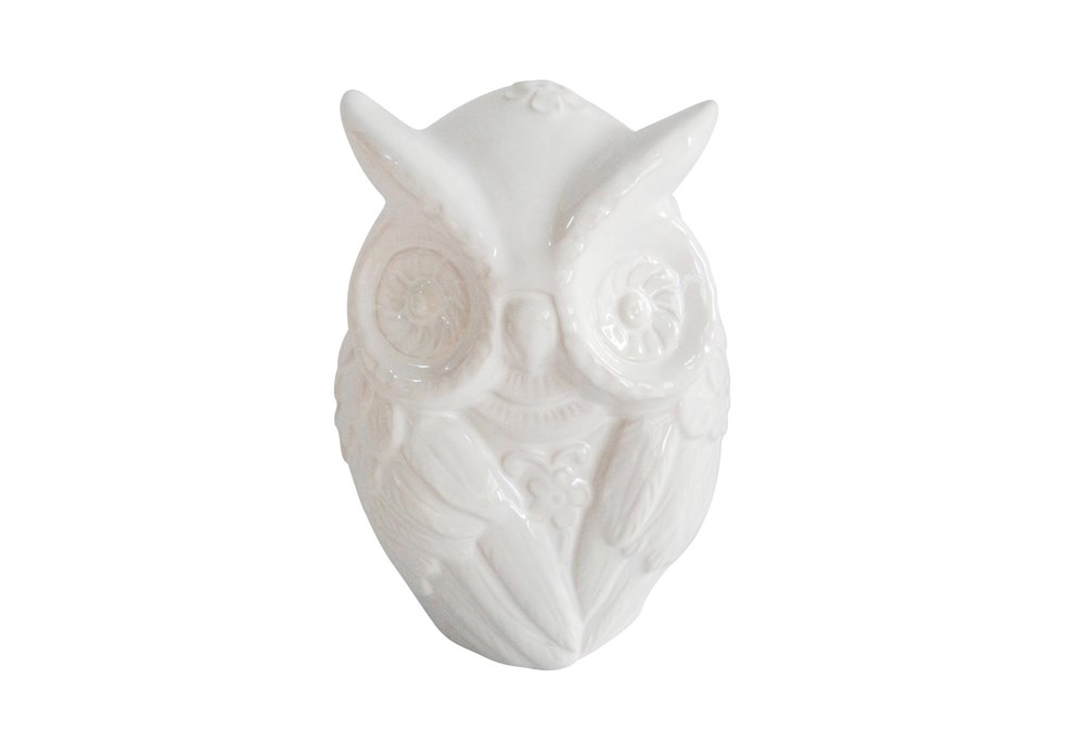 9 Inch White Owl Figurine