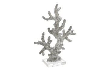 17 Inch Silver Coral On Acrylic Base