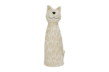 18 Inch White   Cat Figurine