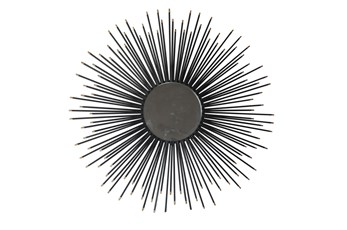 32 Inch Black Starburst Wall Mirror
