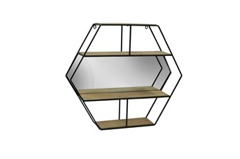 24 Inch Hexagon Decor With Mirrored Shelves