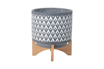 10 Inch Gray Aztec Planter On Wooden Stand