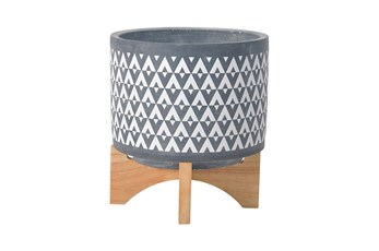 8 Inch Gray Aztec Planter On Wooden Stand