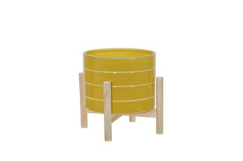 8 Inch Yellow Striped Planter