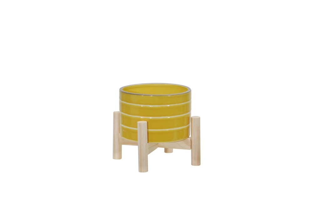 6 Inch Yellow Striped Planter