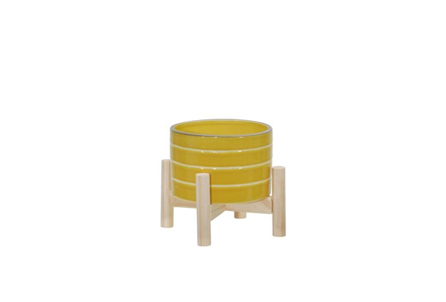 6 Inch Yellow Striped Planter  - 360