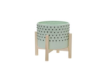 8 Inch Mint Planter With Black Dots