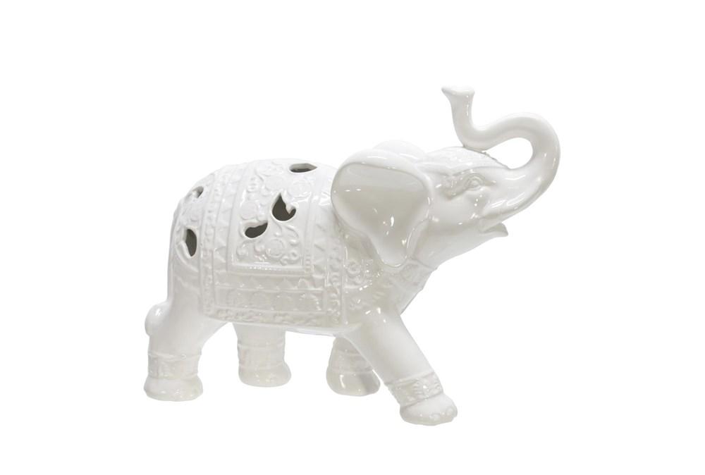 10 Inch White Elephant Figurine