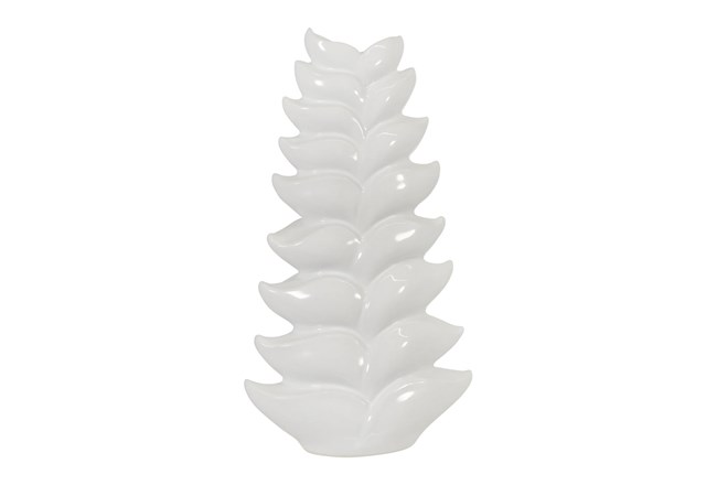 17 Inch White Leaf Vase  - 360