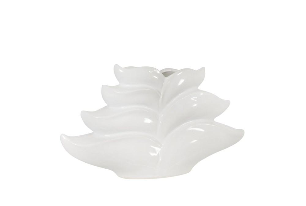 9 Inch White Leaf Vase