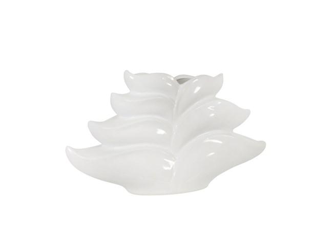 9 Inch White Leaf Vase  - 360