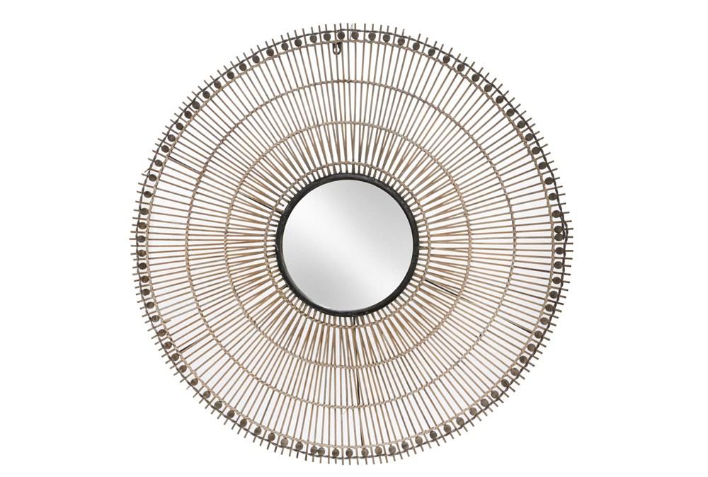 33 Inch Wicker Circular Wall Mirror