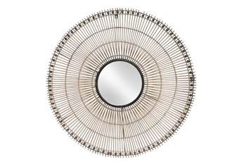 33 Inch Wicker Circular Wall Mirror