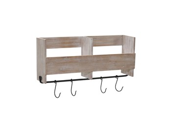 19 Inch Wood Shelf With Hooks
