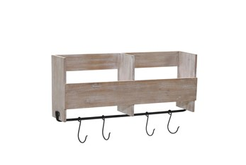 19 Inch Wood Shelf With Hooks