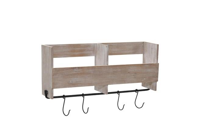 19 Inch Wood Shelf With Hooks - 360