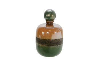 14 Inch Green And Brown Jar
