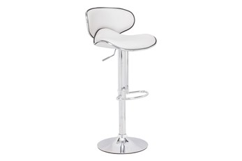 Otis White 33 Inch Adjustable Base Barstool
