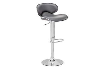 Fly Grey 33 Inch Adjustable Base Bar Stool