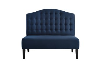 Navy Tufted Curved Settee