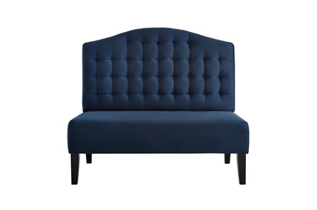 Navy Tufted Curved Settee - Main