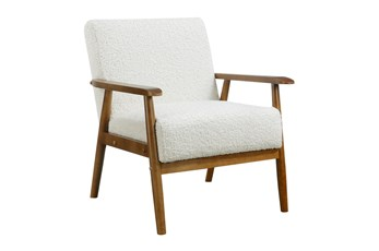 White Sherpa Mid Century Accent Chair
