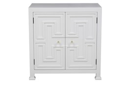 White Geometric Overlay Door Chest