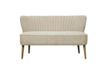Cream Channel Back Mid Century Bench - Main