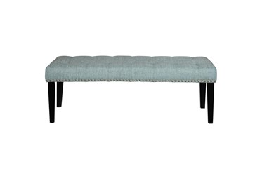 Aqua Nailhead Upholstered Bench