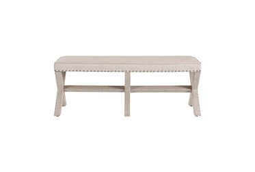 Beige X Upholstered Bench