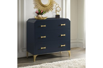 Blue + Gold 3 Drawer Chest