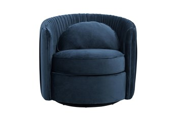 Navy Round Swivel Accent Chair