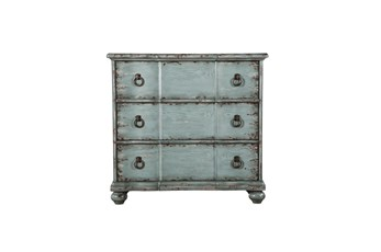 Antiqued Blue 3 Drawer Chest