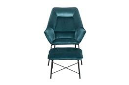 Teal Velvet Modern Accent Chair + Ottoman