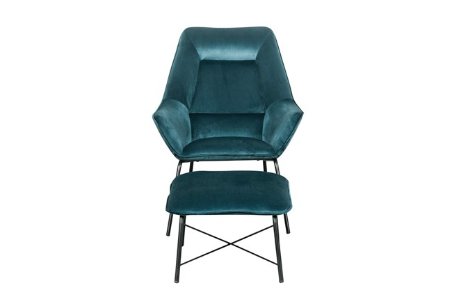 Teal Velvet Modern Accent Chair + Ottoman - 360