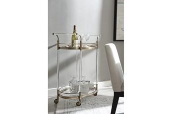 Gold + Acrylic Round Bar Cart